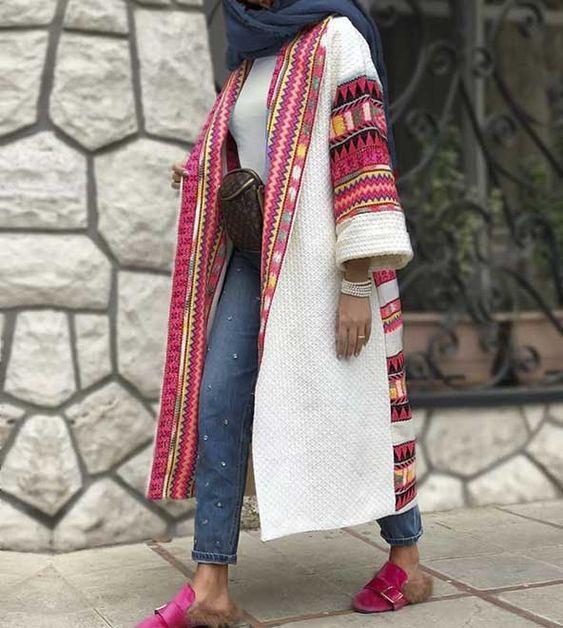 مانتو سنتی بلند رنگ سفید