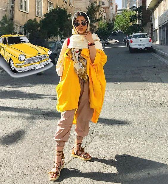 مدل مانتو تابستانی اسپرت زرد