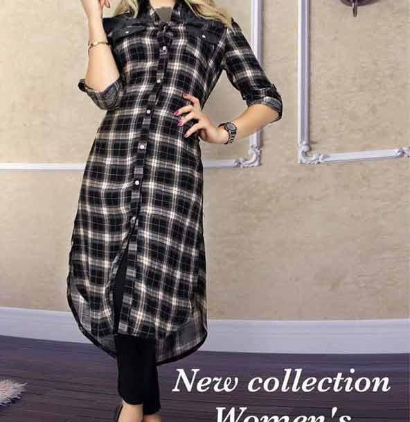 مدل مانتو اسپرت دخترانه با پارچه چهارخونه