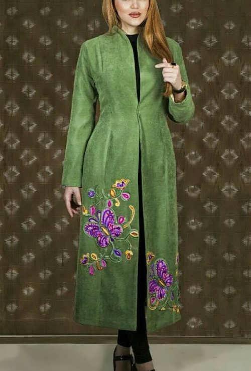 مدل مانتو سبز لجنی بلند