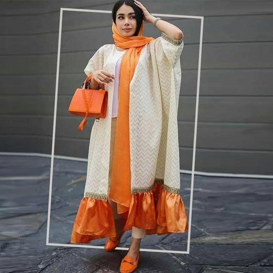 مدل مانتو رنگ پرتقالی